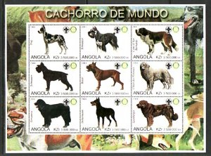 Angola, 2000 Cinderella issue. Dogs, sheet of 9. Rotary & Scout logos. ^