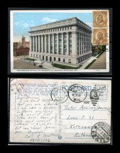 USA Postcard 1930 Used send to Estonia Vertical Pair Imperf.