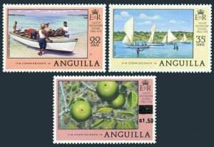 Anguilla 319-321,MNH.Michel 317,318,322. Valley Secondary School.Boat,Fruit.1978