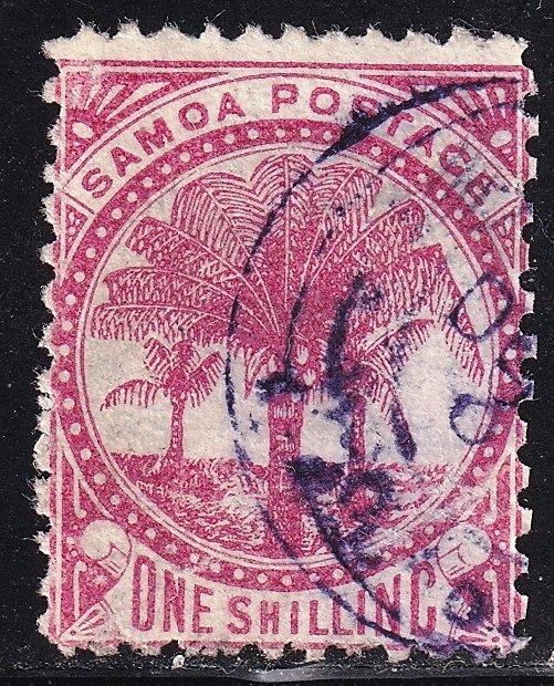 UK British Colonies & Territories SAMOA STAMP 1886 -1899 Palms one shilling used
