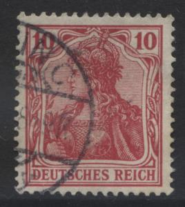 GERMANY. -Scott 68- Definitives -1902 - Used - Carmine - Single 10pf Stamp1