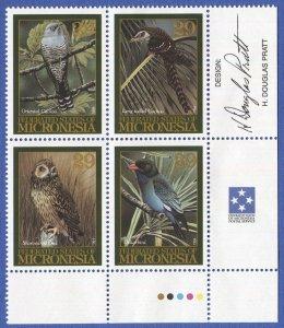 MICRONESIA 1994 Migratory Birds, Sc 201 MNH Block of 4, Signed by Designer