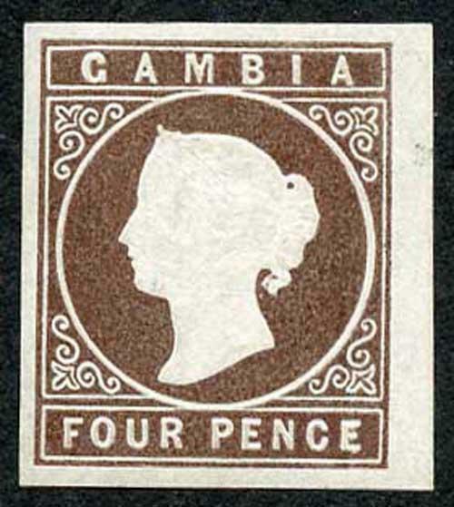 GAMBIA SG1 1869-72 4d brown No Wmk Big Margins Very fresh M/Mint