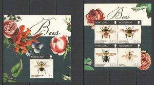 E0960 2015 MONTSERRAT FLORA FAUNA HONEY BEES #1779-83 MICHEL 22 EURO KB+BL MNH
