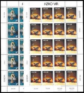 FAROE 1993 EUROPA: Contemporary Art. Sculptures. 2 MINI-SHEETS = 20 sets, MNH