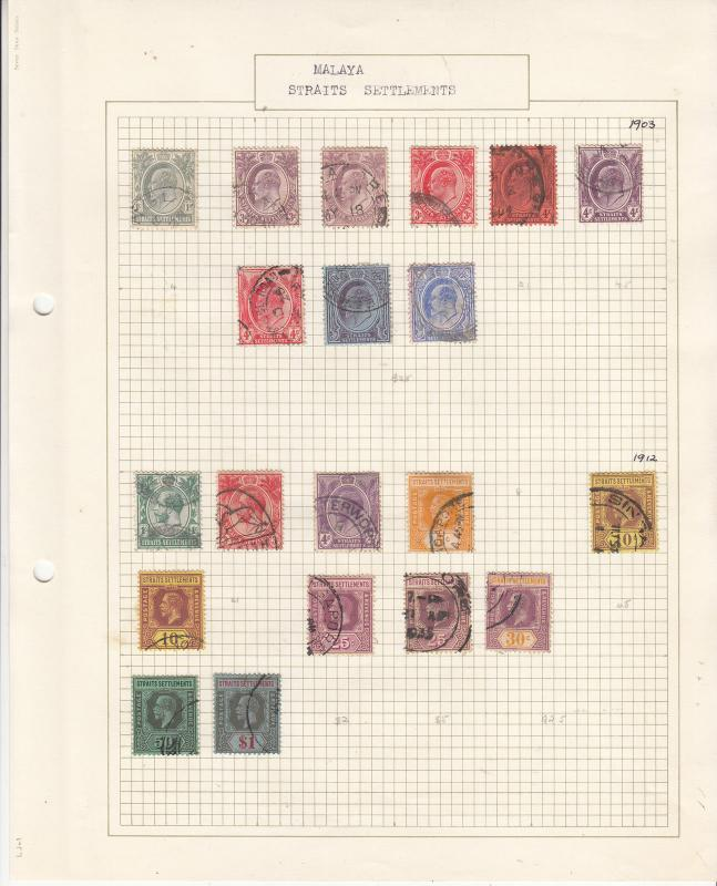 STRAITS SETTLEMENTS Early Edward V11 & George V  Old Album Page FINE USED...