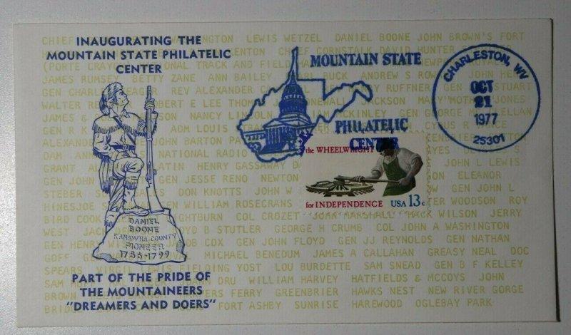 Inaugurating Mountian State Philatelic Center Daniel Boone Charleston WV 1977