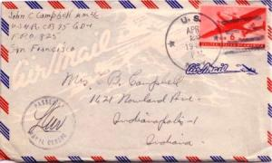 United States Fleet Post Office 6c Transport 1944 U.S. Navy Navy 825 Roi Isla...