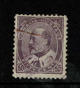 Canada SC# 95, Used, Hinge Remnant, minor creasing, see notes - S6786
