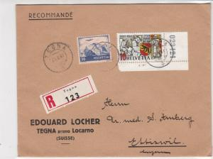 Switzerland 1941 Tegna Cancel Registered Stamps Cover Sticker Seal Back Rf 29144