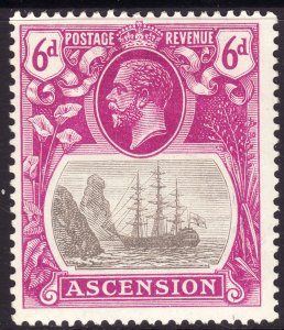 1924 Ascension King George V KGV 6p Badge of the Colony MMH Sc# 17 CV $62.50
