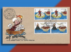 St. Brendan Sails to the 'Sheep Isles' on Handcolored Faroes EUROPA FDC from '94