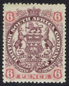 RHODESIA 1897 ARMS 6D CURLED SCROLLS