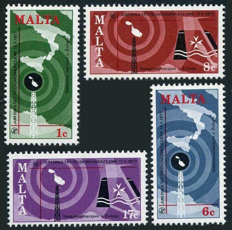 Malta 535-538,MNH.Michel 550-553. World Telecommunication Day,1977.Map,Tower,