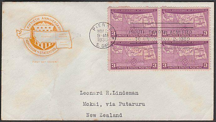 USA 1939 3c South Dakota FDC to New Zealand -  backstamped.................55625