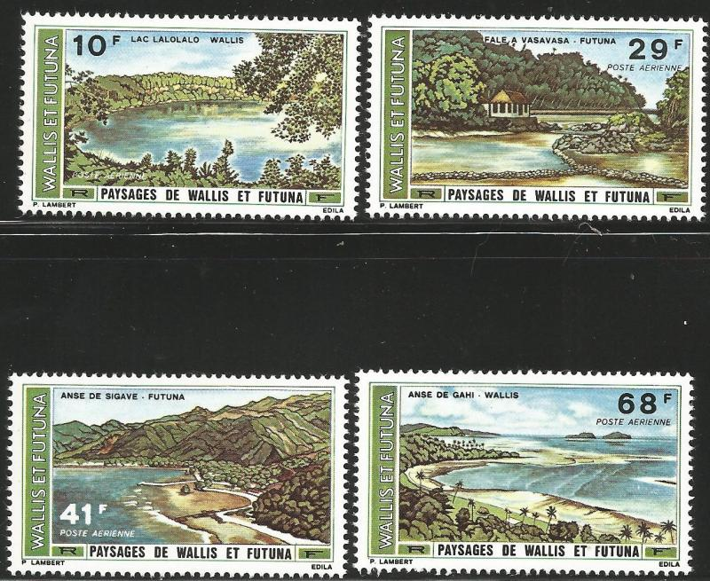 WALLIS & FUTUNA ISLANDS C65-C68, MNH, C/SET OF 4 STAMPS, LANDSCAPES, 1975