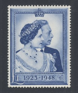 Great Britain Sc 268 MLH. 1948 £1 deep chalky blue Silver Wedding, VF