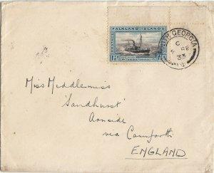 Falkland Islands 1933 KGV 1½d Centenary Cover South Georgia to England