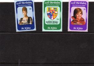 1982 St Kitts 21st Birthday of Princess Diana MNH opt