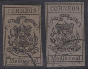 DOMINICAN REPUBLIC 1867-71 COAT OF ARMS Two Medio real FORGERIES ON DARK GRAY