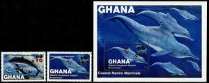HERRICKSTAMP GHANA Sc.# 918-20 Whales & Dolphins