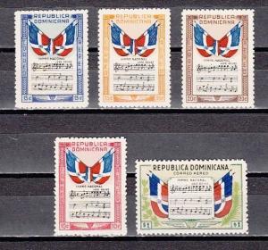Dominican Rep., Scott cat. C57-C61. National Anthem, Music issue.