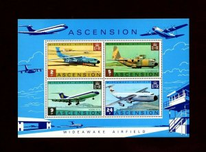 ASCENSION - 1975 - AIRCRAFT - WIDEAWAKE AIRFIELD - C-130 - VC-10 + MNH S/SHEET!