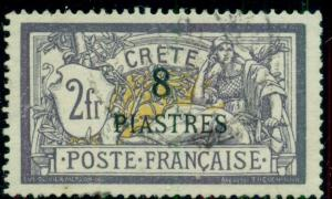 FRANCE OFFICES IN CRETE 19, 8pi on 2fr Ovpt, used, VF, Scott $145.00