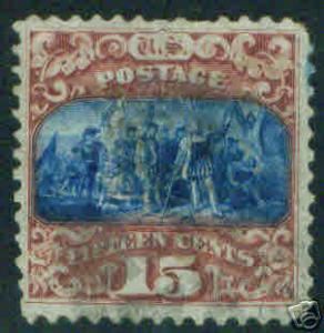 USA Scott 119 Colombus 1869 15c with Grill CV $250