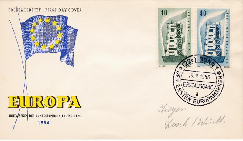 Germany 1956 Europa (2) on Clean First Day Cover