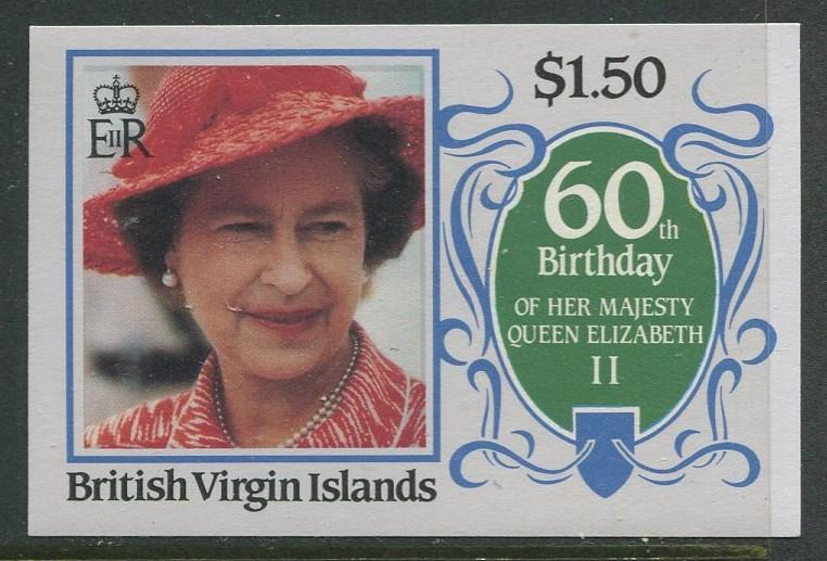 Virgin Is.- Scott 534 - QEII 60th Birthday -1986 - MVLH - Single $1.50c Stamp