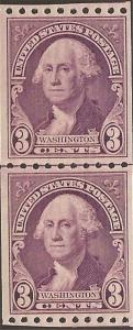 US Stamp - 1932 3c Washington - Coil Joint Line Pair VF MNH #722