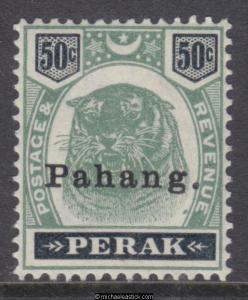 1898 Malaya Pahang 50c Tiger Green + Black, o/p 'Pahang' type 11, SG 22, MH