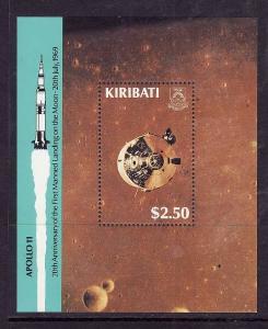 Kiribati-Sc#521-Unused NH sheet-Space-Moon Landing-1989-