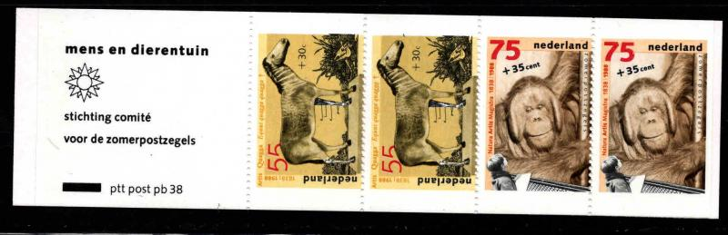 Netherlands Scott B640a  MNH** 1988 Zoo Animal booklet