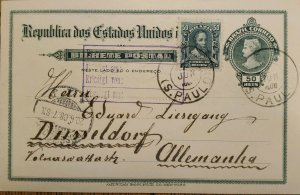 A) 1908, BRAZIL, POSTAL STATIONARY, FROM SAO PAULO TO GERMANY, AMERICAN BANK NOT