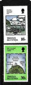 Tristan Da Cunha-Sc#381-2-unused NH 10p lifeboat,30p Map-wmk inverted-1985-