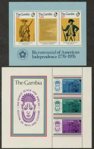 GAMBIA Sc#337a,350a 1976-7 American Revolution & Culture Festival S/S OG Mint LH