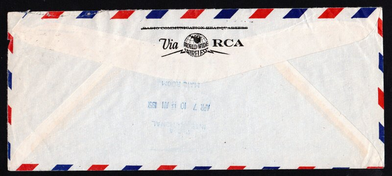 RCA PHOTOPHONE LTD LONDON TO RCA NY AIRMAIL COVER ONE SHILLING - 1951