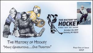 17-340, 2017, History of Hockey, Pictorial Postmark, FDC, Detroit MI