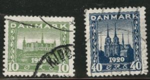 DENMARK  Scott 159-160 used 1921 set CV$11.50