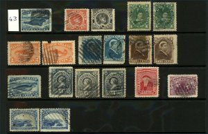 Newfoundland 1868-97 Singles on Stockcard, Items of Note Include Newfound Stamps