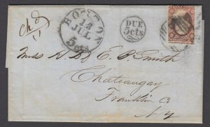US Sc 11A, Large PAID and Due 5cts cancel of Boston Mass on cover