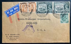 1940 Rangoon Burma Airmail Censored Cover To Sioux City IA USA
