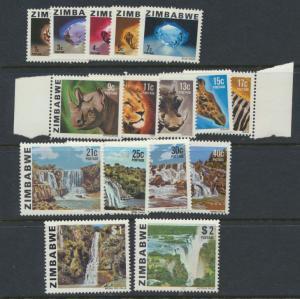 Zimbabwe SG 576 -  SG 596 set of 16 Mint Never Hinged