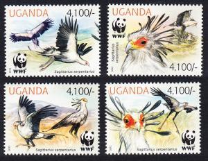 Uganda WWF Secretarybird 4v