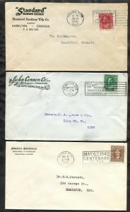 p957 - HAMILTON Lot of (3) Corner Covers with Slogan Cancels