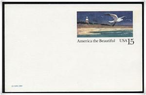 SC#UX132 15¢ Seashore Postal Card Unused