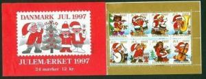 Denmark.  Booklet  1997 Christmas 24 Seals  Mnh. Santa, Music With Friends