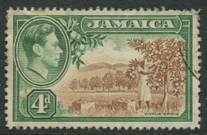 Jamaica -Scott 122 - KGVI Definitive -1938 - Used - Single 4p Stamp